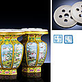 An exquisite pair of imperial beijing enamel facetted vases, yongzheng blue-enamel four-character marks within double squares an