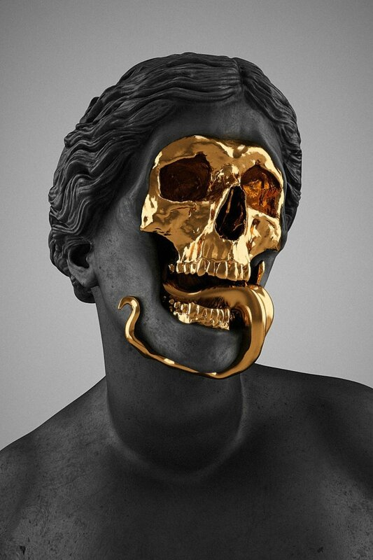 Hedi Xandt, The God Of The Grove (detail), 2013. gold-plated brass, polymer, distressed black finish, marble. © 2014 Hedi Xandt