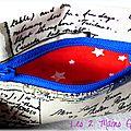 Une carte postale ... des étoiles ... une touche de rouge et de bleu ... un porte-monnaie unisexe !!