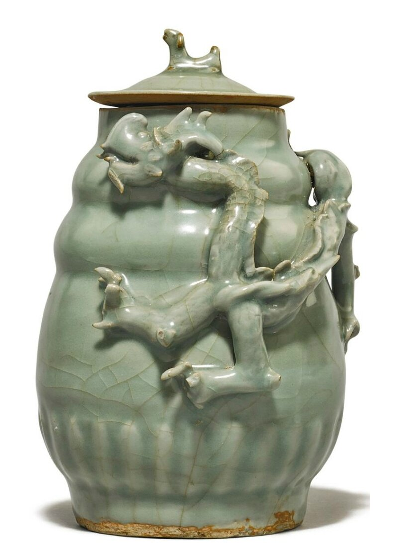 A 'Longquan' celadon funerary jar and cover, Southern Song dynasty
