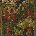 Les arhat angaja, vanavasin, kalika et ajita, tibet, ca 18e siècle