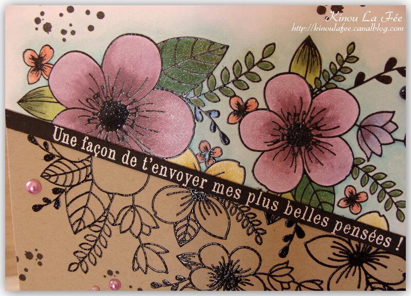 Carte bouquet kraft et couleur 4