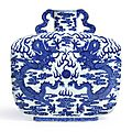 A fine and rare blue and white 'dragon' rectangular moonflask, qing dynasty, qianlong period (1736-1795)
