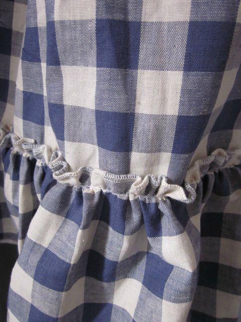 Robe champêtre en coton à carreaux bleus (4)