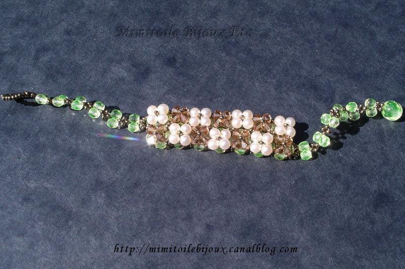 Bracelet japonais vert et topaz fumé