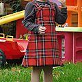 robe écossaise réversible velour vert 3 ans