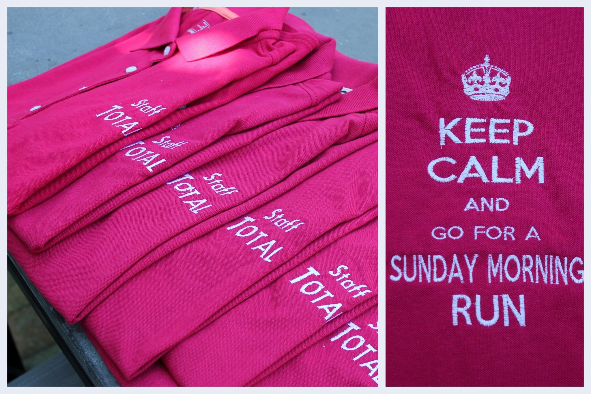 "Polos des sportives: "" Go for a Sunday morning run"""
