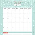 Calendriers mansuels : avril 2014 (à imprimer - gratuit)