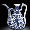 A rare blue and white ewer, seal mark and period of qianlong (1736-1795)