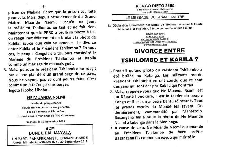 DIVORCE ENTRE TSHILOMBO ET KABILA a