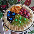 Tarte sablée croquante multicolore aux fruits et m&m's, bataille food #70