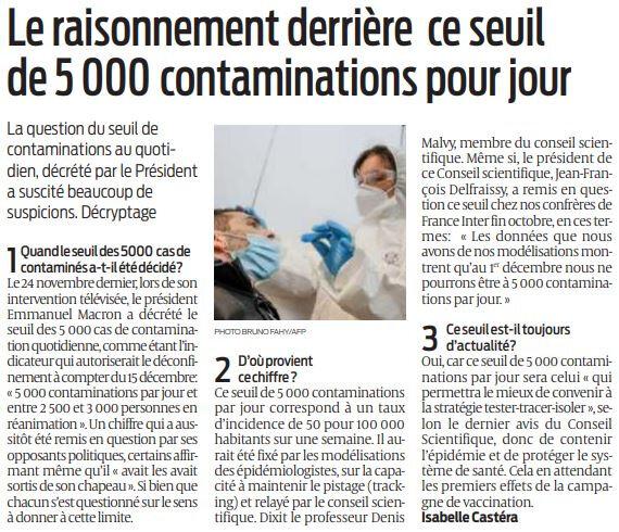2020 12 11 SO Le raisonnement derrière le seuil de 5000 contaminations par jour
