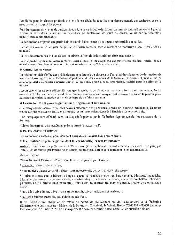 Arrété Préfecture 80 chasse 2019-20205