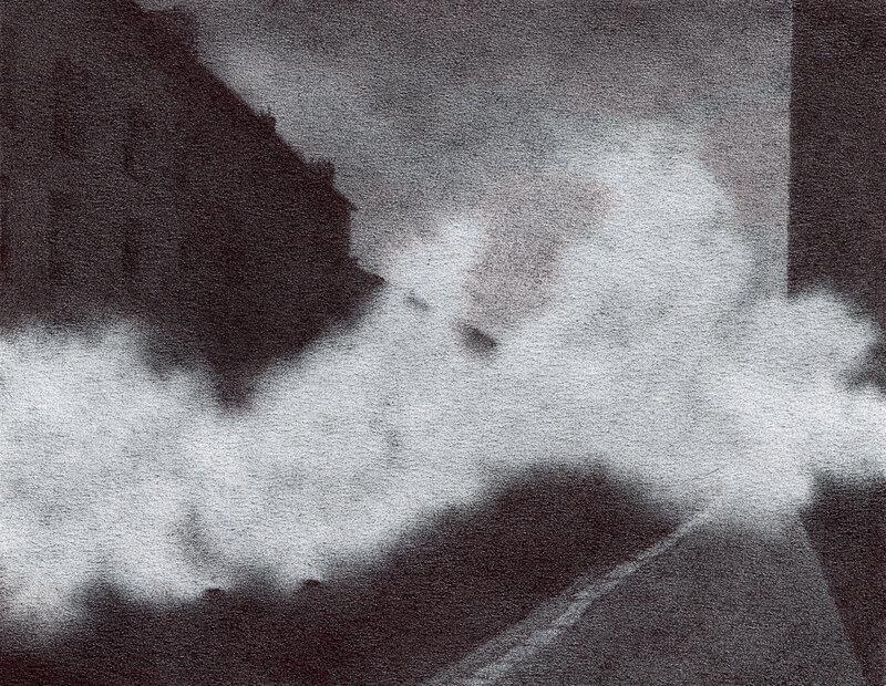 Ce que Stéphane avait vu, acte IX, samedi 12 janvier 2019, Wasteland, stylo bille sur papier, 8,5 x 10,8 cm, 2019
