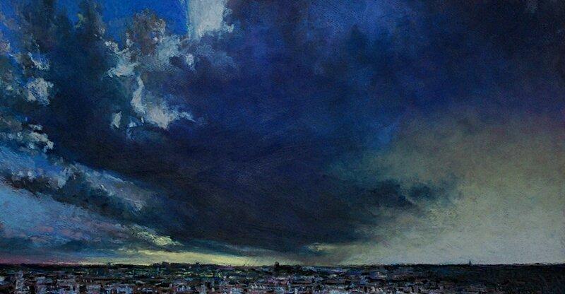 horizon elevation 54, fev 2016, pastel à l'huile, 64 x 34 cm