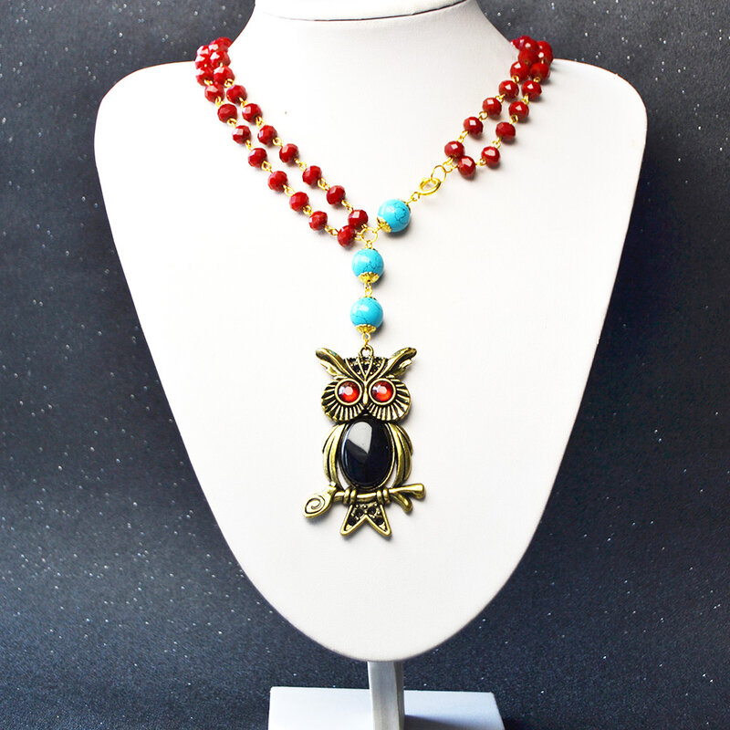 How-to-Make-an-Owl-Pendant-Two-strand-Necklace-with-Red-Glass-Beads-4