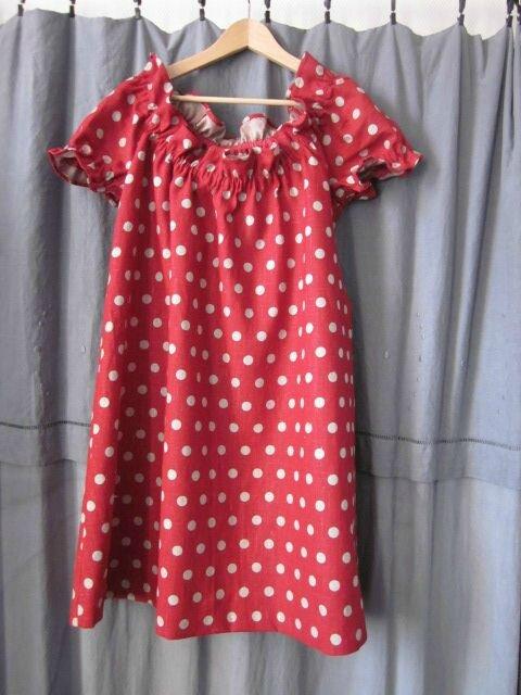 Robe ALBANE en lin rouge à pois couleur lin (4)