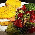 Hamburger de polenta au saumon fumé