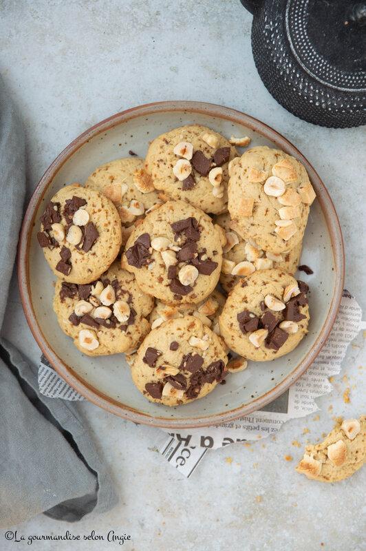 cookies moelleux et croustillants noisettes sucre complet chocolat