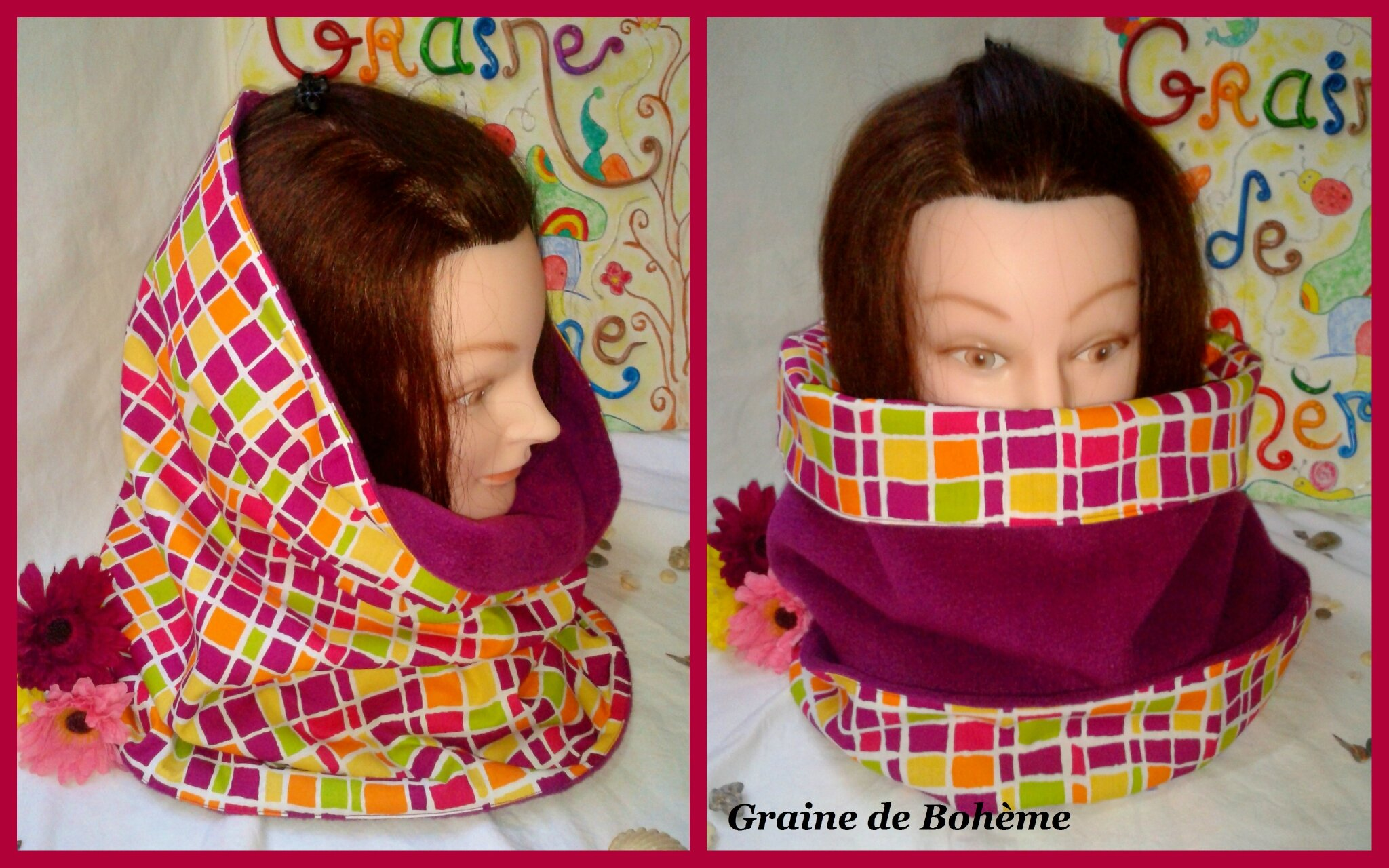 Snood multi carreaux