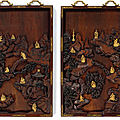 An extremely rare and magnificent pair of gilt-bronze inset hongmu 'luohan' panels, qing dynasty, qianlong period (1736-1795)