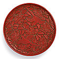 A superbly carved cinnabar lacquer 'magpie' tray signed yang mao, yuan dynasty (1279-1368)