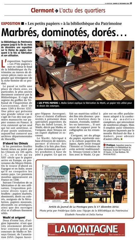 article de journal La Montagne 17122016 - conference origami bibliotheque Patrimoine