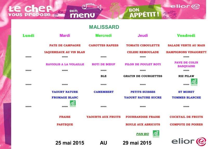 Menu Malissard du 25 au 29 mai 2015