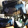 Grande Trousse de toilette en jean et toile cirée