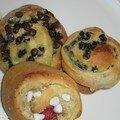 Escargots pépites de choco / framboise-amande / raisins
