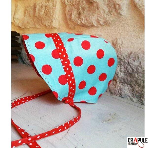 Beguin / bonnet renfant original retro bleu pois rouge crapule factory www.crapule-factory.com