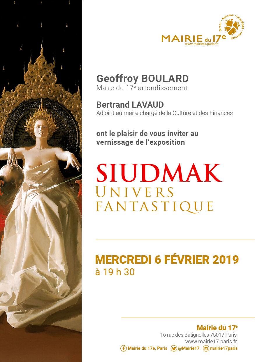 Wojtek Siudmak, invitation au vernissage, Mairie 17e, 16, rue des Batignolles - 75017 Paris - 6 février 2019