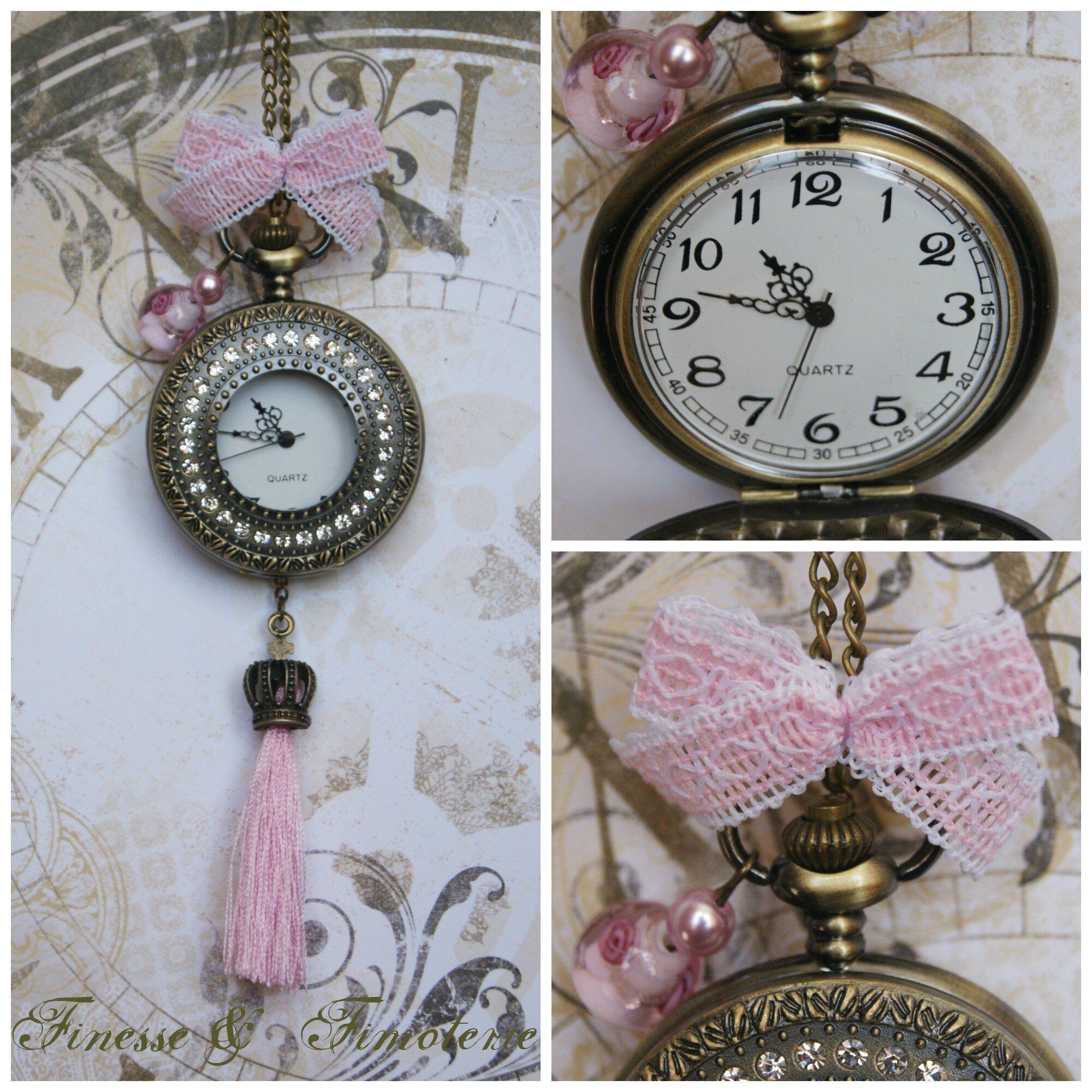 horloge bronze vintage rose