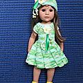 Vêtement compatible poupée hannah götz, kidtz, américan girl, robe et bonnet