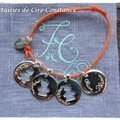Bracelet coton ciré méd argent, enfants évidés gravés perles argent massif-2