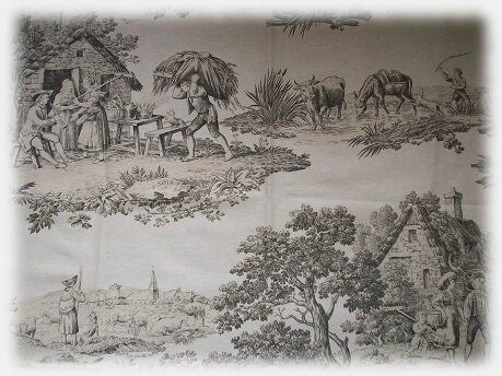 coupon tissu toile de jouy rouge vache