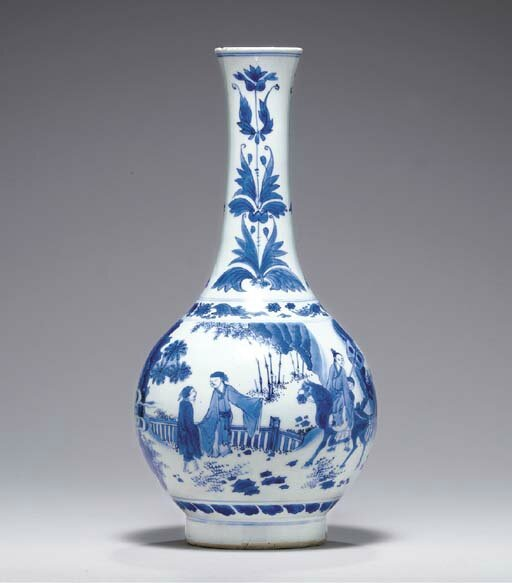 A blue and white bottle vase, Transitional period, ca