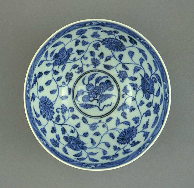 Bowl (Wan) with Lotus Petals (Lianzi) and Floral Scrolls, China, Jiangxi Province, Jingdezhen, Chinese, Early Ming dynasty, about 1368-1450