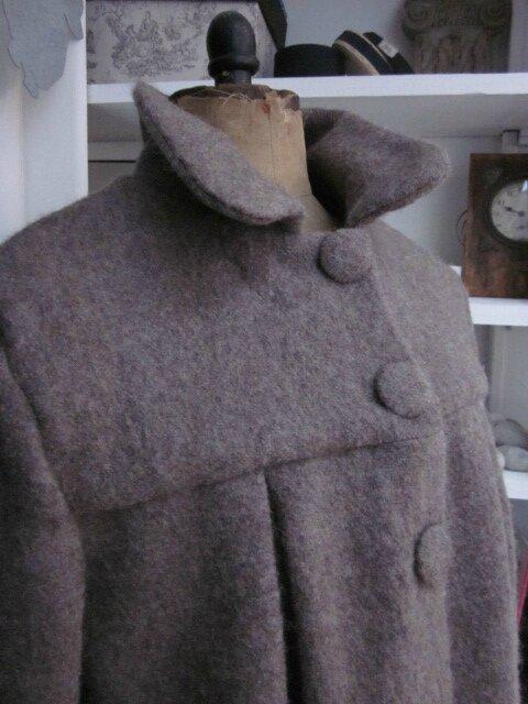 Manteau AGLAE en laine bouillie beige chiné - taille 52 - sans noeud (6)