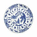 A blue and white molded dish, kangxi period (1662-1722)