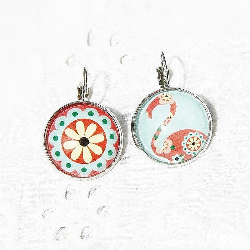 coralie 10 boucles d'oreilles dormeuses fleur flant rose saumon turquoise cabochon @louiseindigo (6)