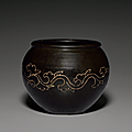 An unusual incised dark brown-glazed jar, jin-yuan dynasty (1115-1368)