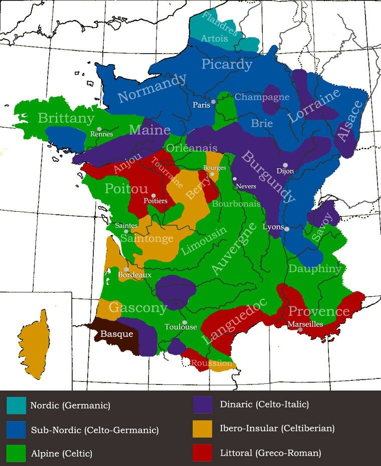 Geographic distribution of ethnic features in France