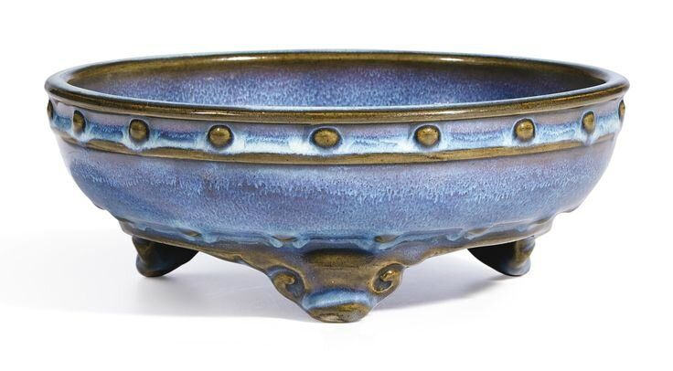 A fine and brilliantly splashed lavender-glazed 'Jun' narcissus bowl, Early Ming dynasty