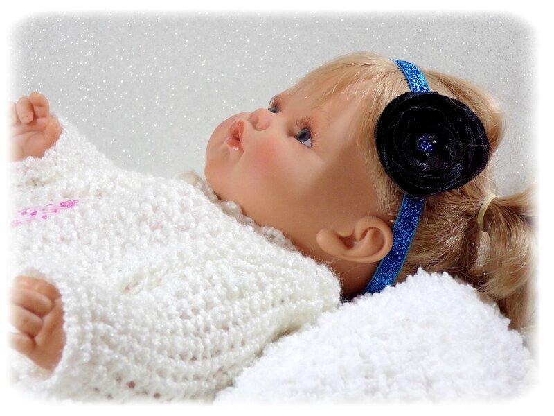 Bandeau cheveu bébé fleur bleu et noir