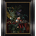 Willem van aelst, still life with grapes in a basket, peaches on a silver dish, medlars, two butterflies, a fly and a snail,...