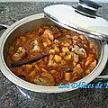 Filet mignon de porc au curry, fruits et légumes