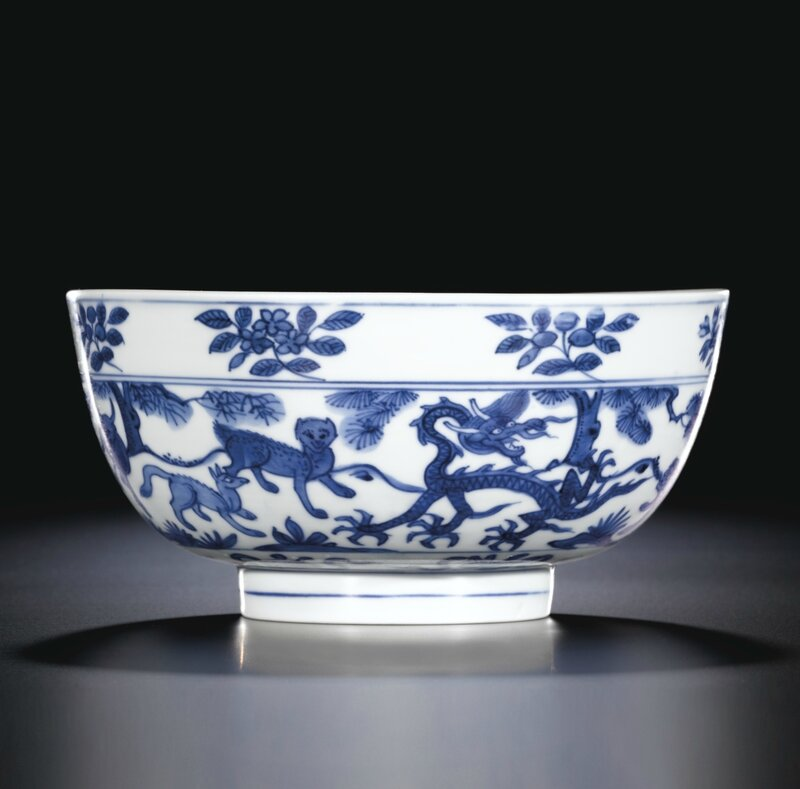 A blue and white 'mythical animals' bowl, Mark and period of Wanli (1573-1619)