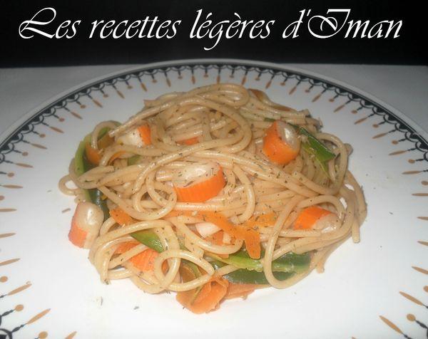 Spaghetti légumes et surimi 1