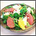 Salade de mâche et cabillaud mariné aux agrumes et grenade [sev]